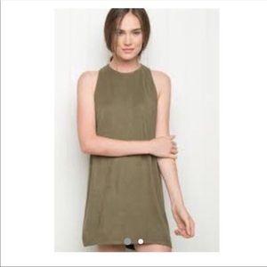 Brandy Melville Suede Khaki Dress - One Size